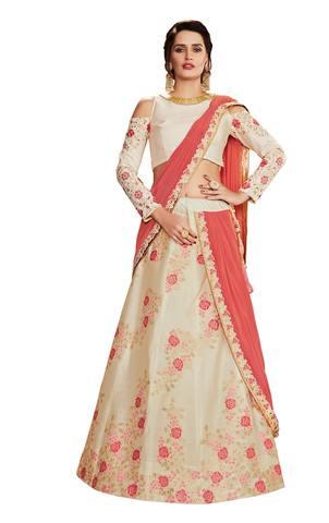 Off White Weaved Silk Partywear Lehenga Saree