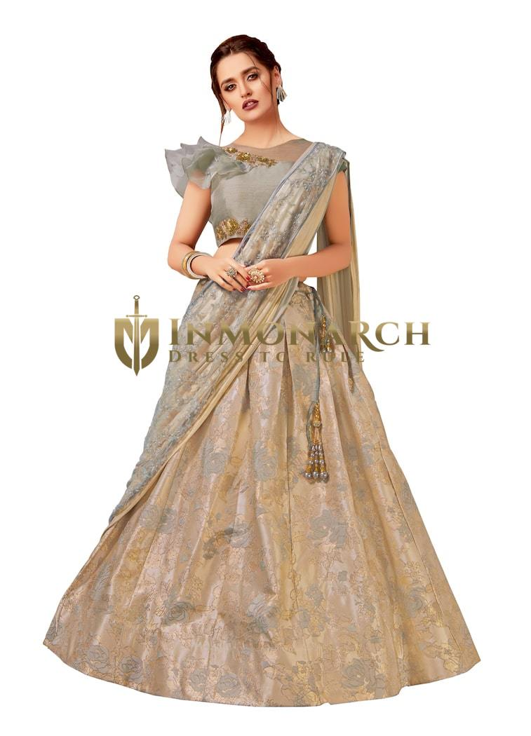 Grey Fancy Jacquard Partywear Lehenga Saree