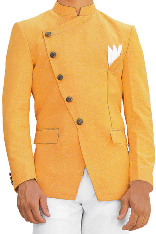 Orange Mens Jodhpuri Suit with fashionable Nehru Suit Jacket
