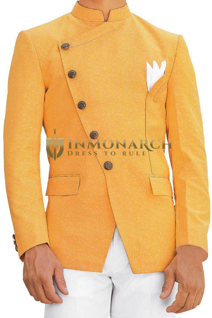 Orange Mens Jodhpuri Suit with fashionable Nehru Suit Jacket