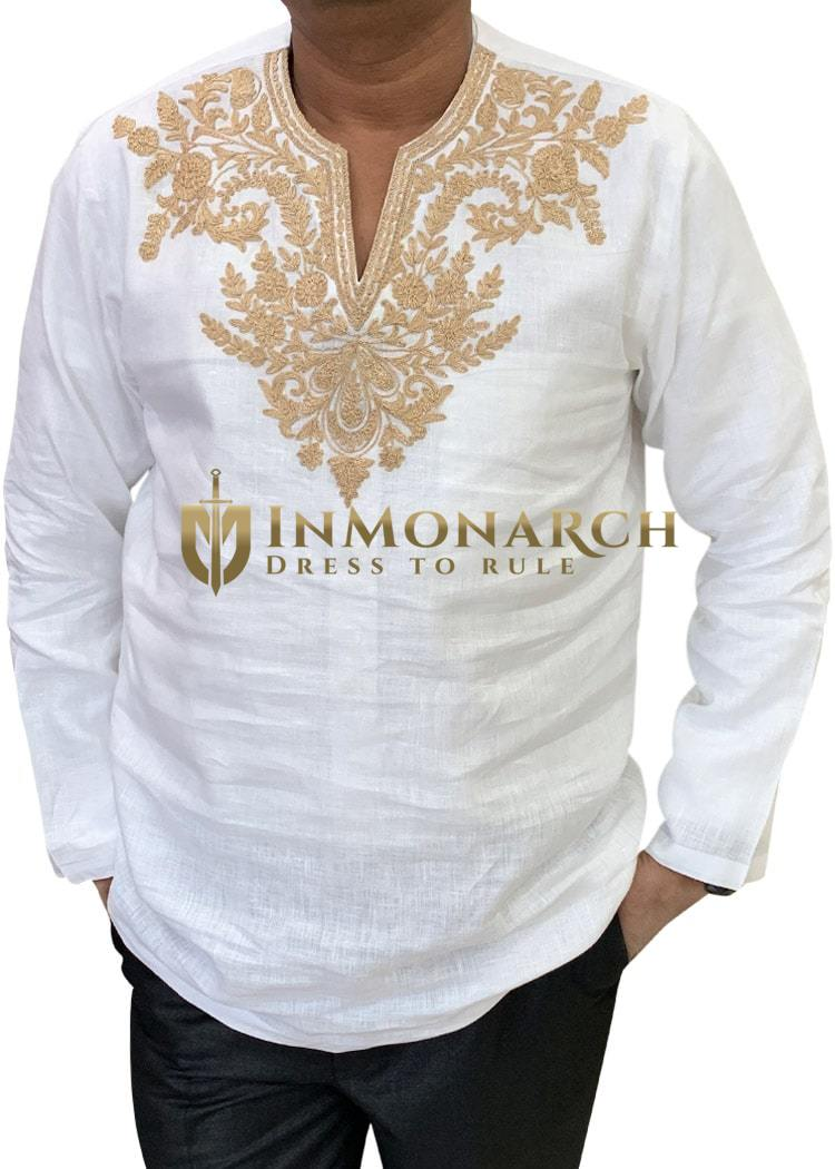 White Mens Groom linen shirt for Tropical Wedding
