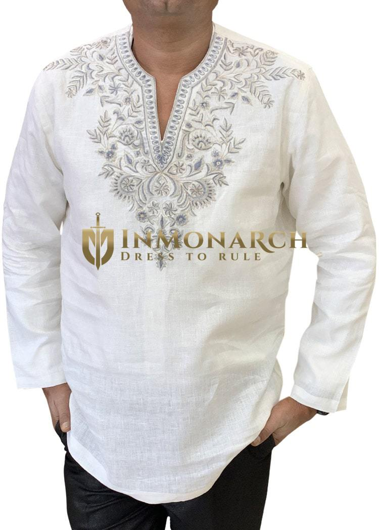Mens White Tunics in Linen Embroidered at V Neck