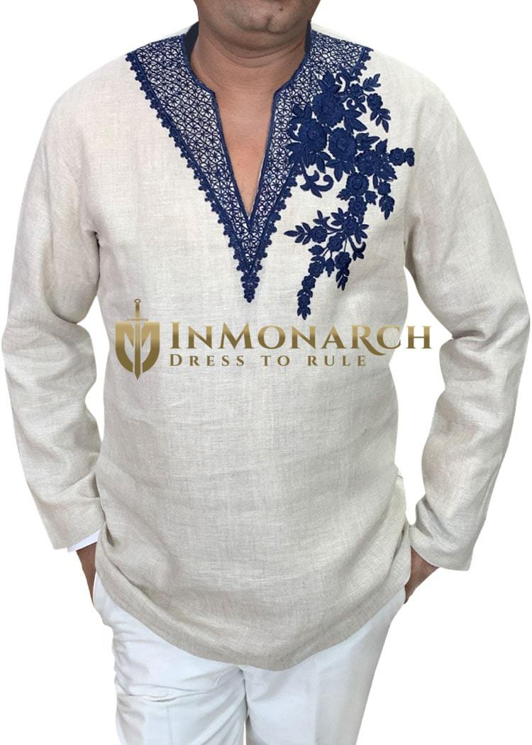 Mens V Neck Tunics Embroidered Short Kurta in Natural Color