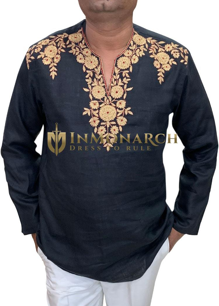 Mens Black Linen Tunics Indian Short V Neck Kurta