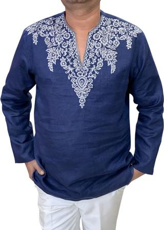 Navy Blue Mens Tunics Indian short kurta Embroidered at V Neck