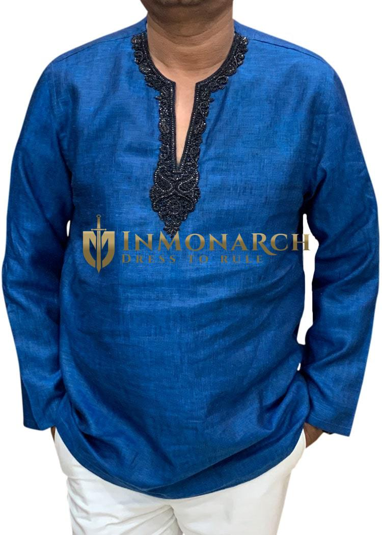 denim-blue Mens Tunics Indian short kurta Embroidered at V Neck