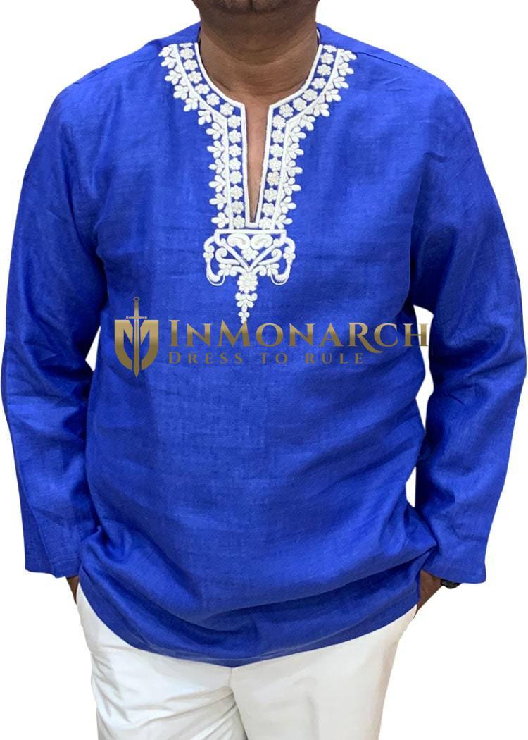 Blue Mens beach wedding linen tunics for summer