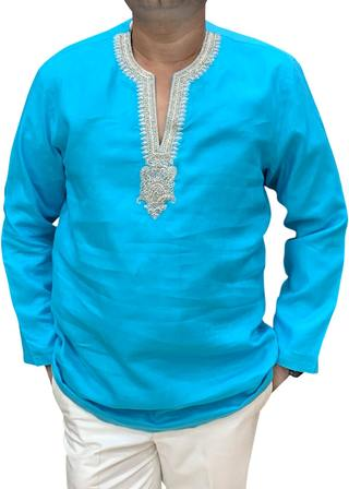 Turquoise Mens Tunics Indian short kurta Embroidered at V Neck