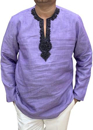 Purple Mens Island Wedding Groom linen Shirt for Tropical weather