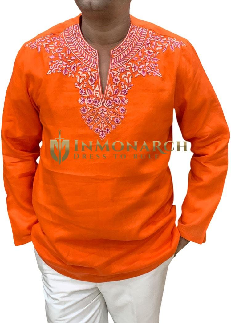 Orange Mens groom linen shirt for Tropical Wedding
