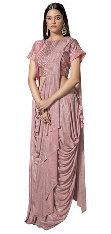 Fancy Lycra Pink Saree