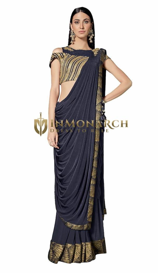 Lycra Blue Party wear Saree