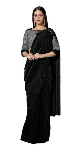 Black Lycra Cocktail Party wear Saree