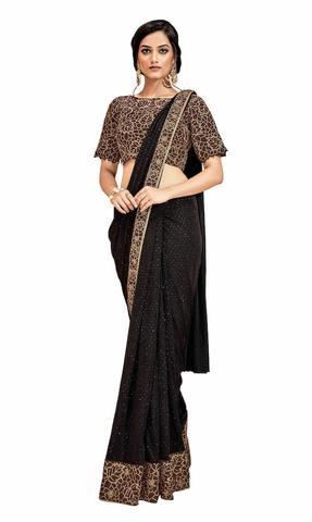 Lycra brown Wedding Saree