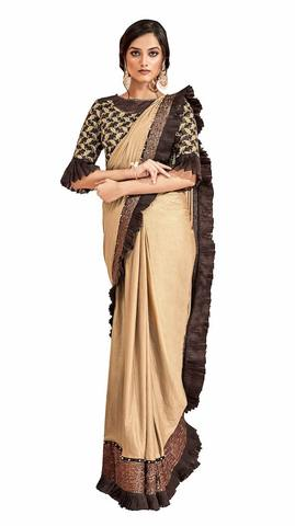 Lycra Beige Wedding Saree