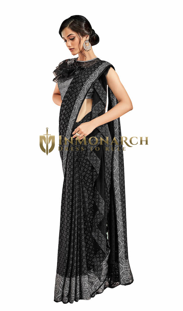 Lycra Black Wedding Saree