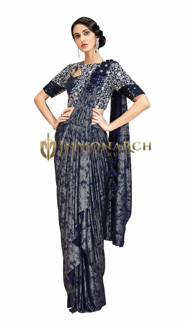 Lycra Blue Partywear Saree