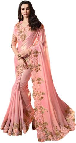Embroidered Pink Satin Silk Bridal Saree