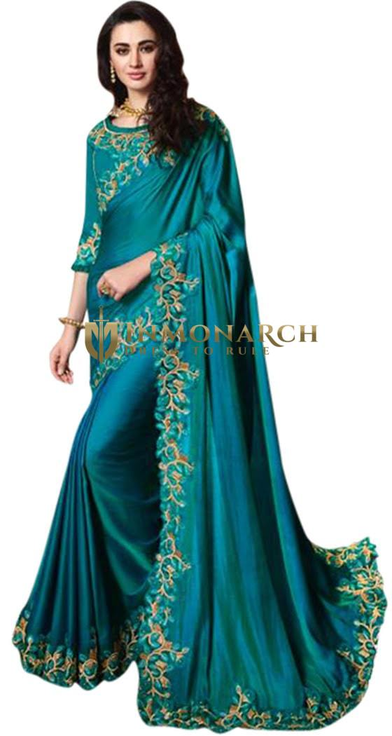 Teal Blue Satin Silk Partywear embroidered Saree