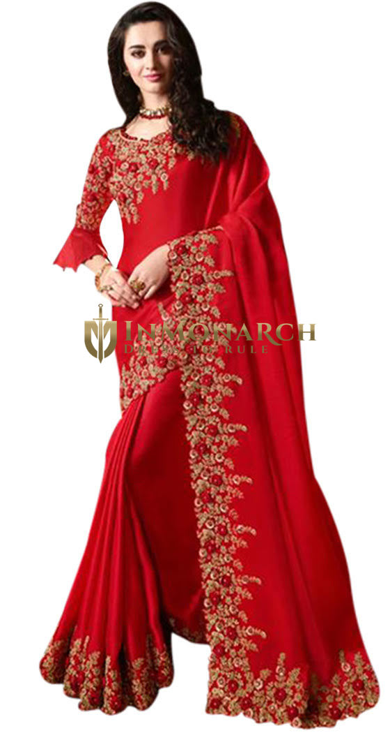 Stunning Red Bridal Embroidered Partywear Saree