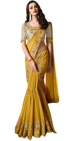 Golden Embroidered bridal wedding Saree