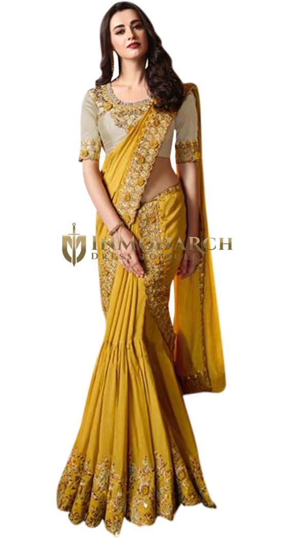 Golden Embroidered bridal wedding Saree