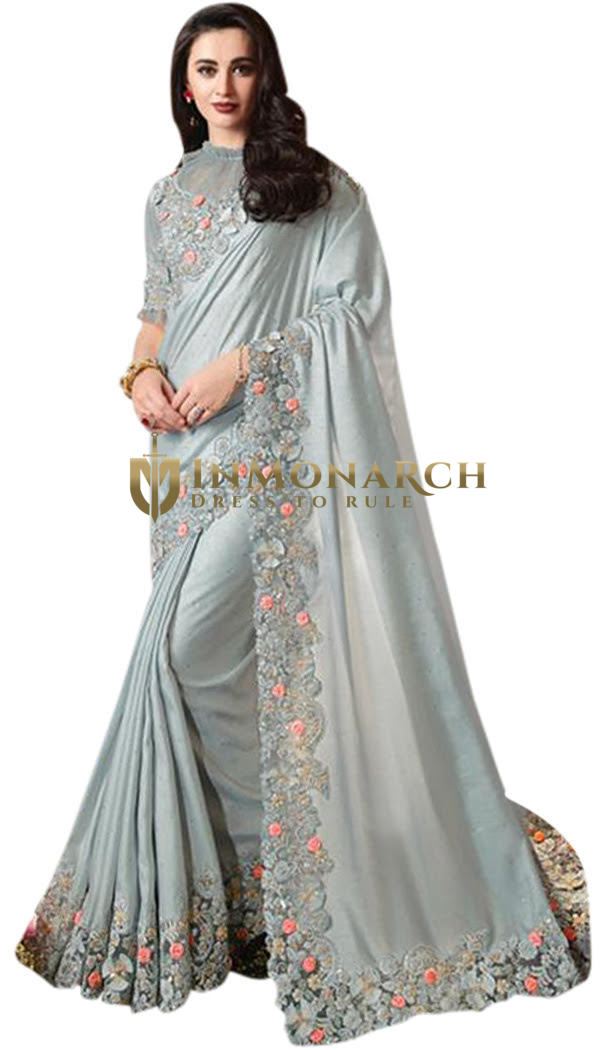 Steel Grey Embroidered Satin Silk Wedding Saree