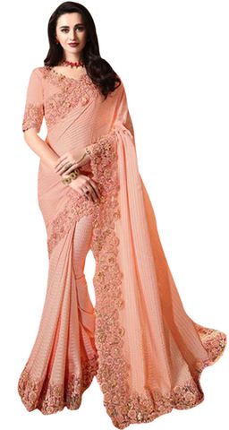 Peach Satin Silk Embroidered partywear Saree