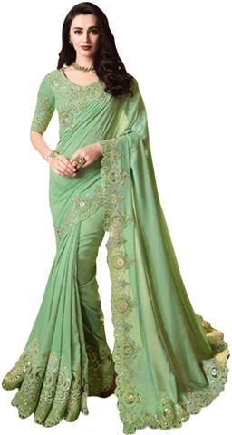 Green Georgette Partywear Embroidered Saree