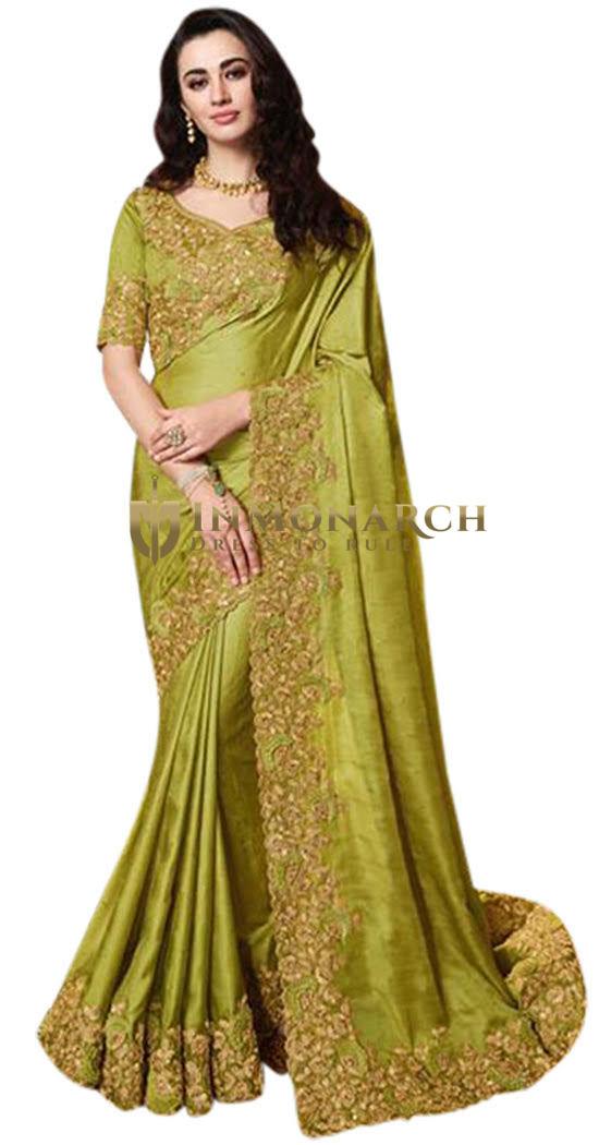 Olive Green Satin Silk Wedding Embroidered Saree