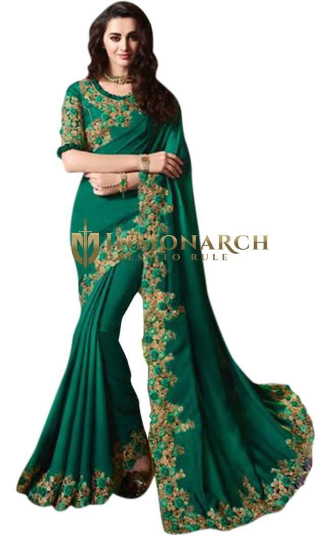 Embroidered Dark Green Satin Silk Saree