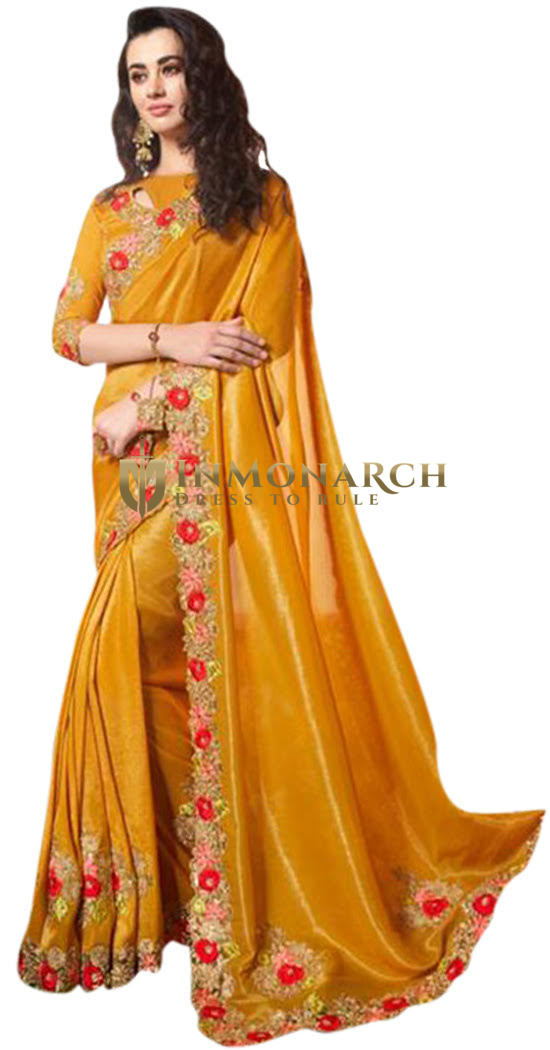 Golden Bridal Satin Silk Saree