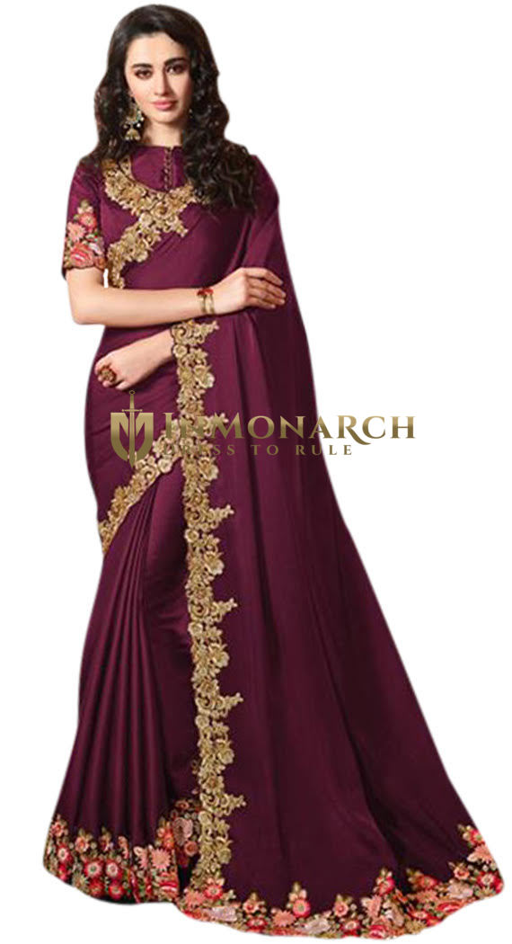 Embroidered Wine Indian Wedding Saree
