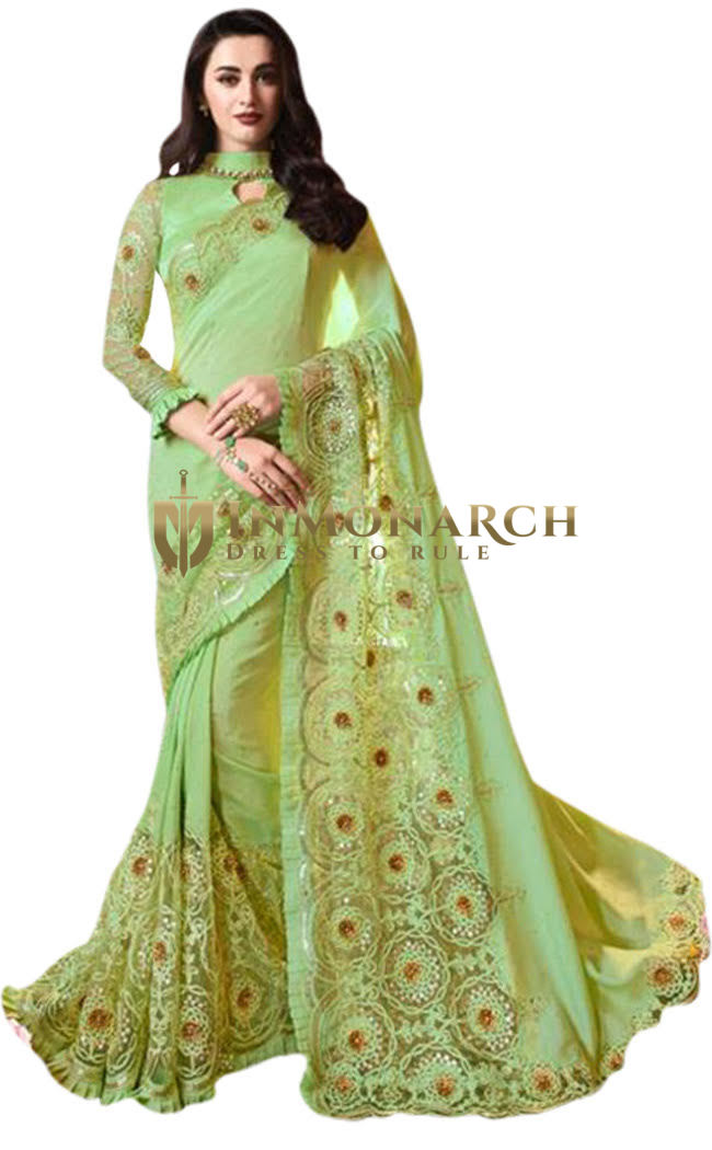 Green Designer Wedding Embroidered Saree