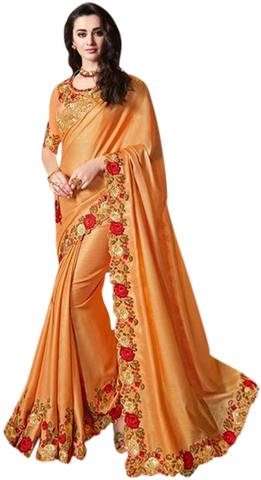 Golden Satin Silk Embroidered Partywear Saree