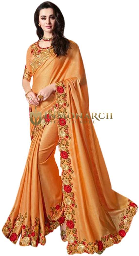 Golden Satin Silk Embroidered Partywear Saree