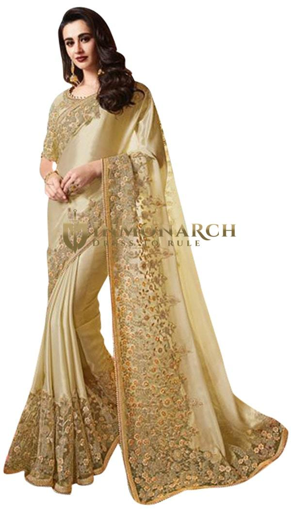 Beige Satin Silk Designer Embroidered Wedding Saree