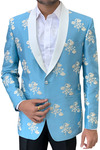 Sky Blue Mens Embroidered Wedding Suit Jacket with Shawl Collar