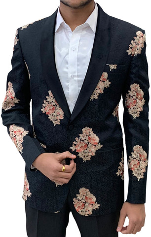 Black Mens Shawl Collar Blazer Decorated with Floral Motifs