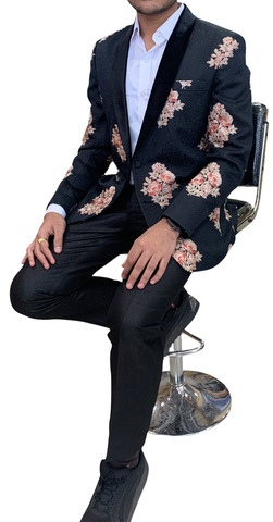 Black Mens Shawl Collar Blazer Decorated with Floral Motifs
