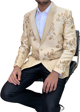 Mens Burlywood Sport Coat Shawl Collar Blazer Coat