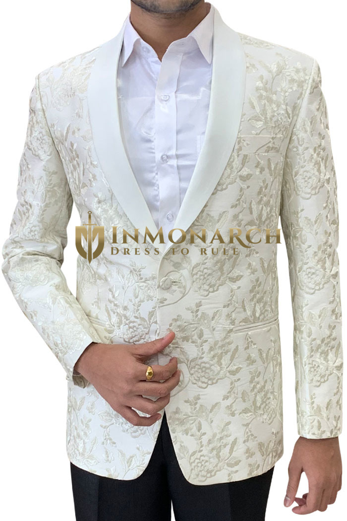 White Embroidered sport jacket coat Shawl Collar Mens Blazer