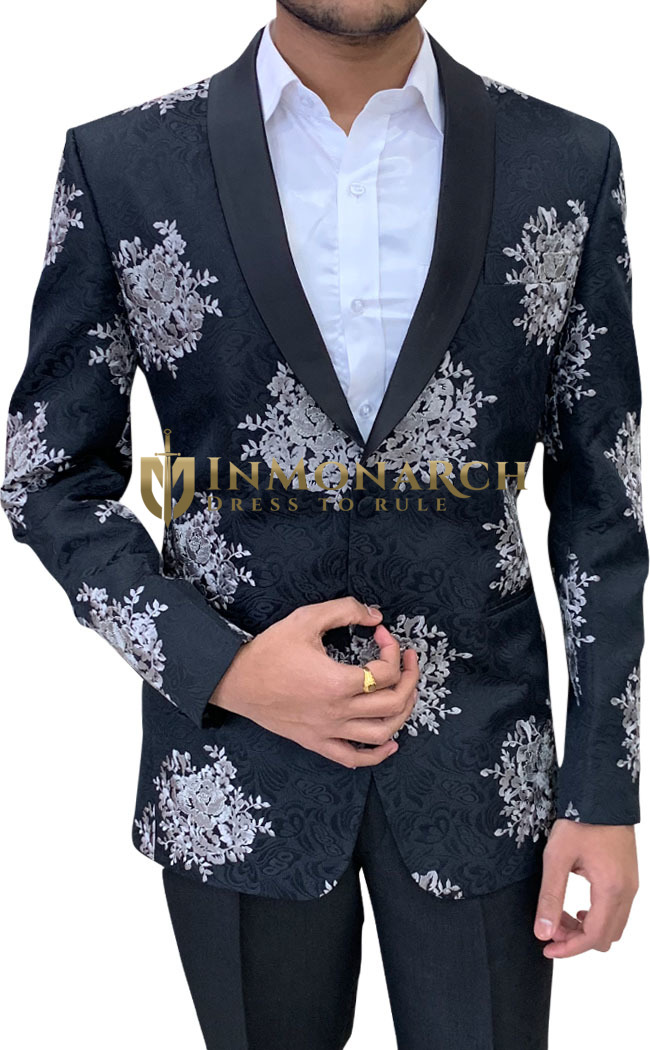 Embroidered Black Mens Shawl Collar Blazer sport jacket Coat