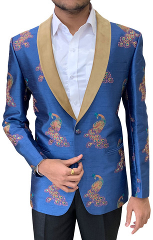 Embroidered Steel Blue Mens Shawl Collar Blazer sport jacket Coat