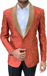 Embroidered Red Mens Shawl Collar Blazer sport jacket Coat