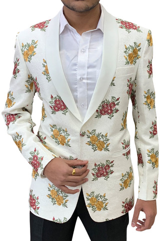 Embroidered Slim fit Ivory Shawl Collar sport jacket coat Blazer