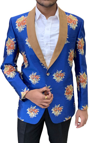 Royal Blue Embroidered Shawl Collar Mens Blazer