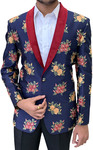 Embroidered Slim fit Dark Navy Shawl Collar sport jacket coat Blazer