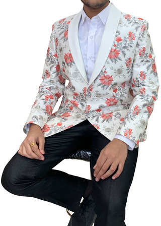 Mens Shawl Collar Embroidered white Blazer sport jacket Coat