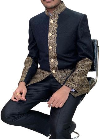 Mens Black Himroo fabric Nehru Jacket